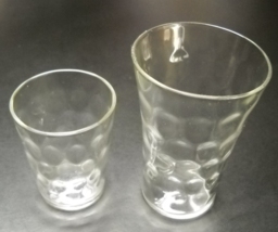 Shot Glass Pair Clear Glass with Dimpled Surface One Tall One Regular Un... - $8.99