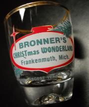 Bronner's Christmas Wonderland Shot Glass Frankenmuth Michigan Gold Rim ... - $10.99