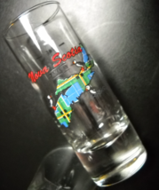 Nova Scotia Canada Shot Glass Tall Style Blue Tartan Island with Lots of Puffins - $7.99