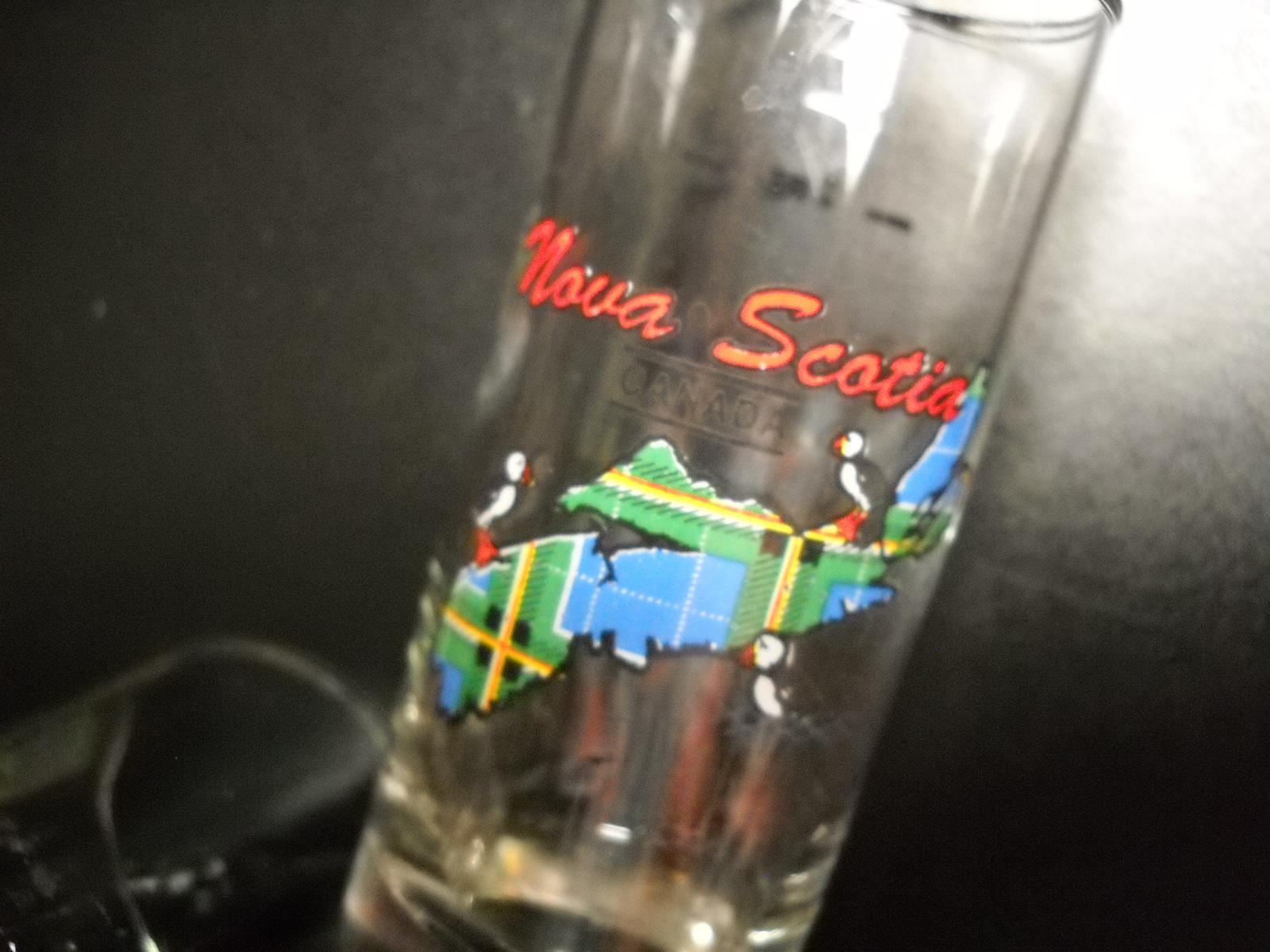 Nova Scotia Canada Shot Glass Tall Style Blue Tartan Island with Lots of Puffins