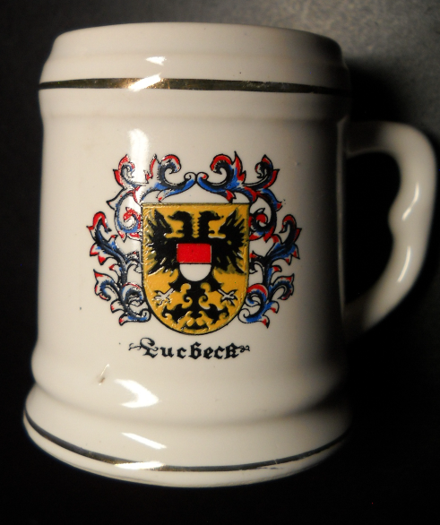 Quebeck Canada Shot Glass Ceramic Mug Style Quebec Coat of Arms on White