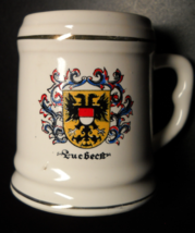 Quebeck Canada Shot Glass Ceramic Mug Style Quebec Coat of Arms on White - $7.99