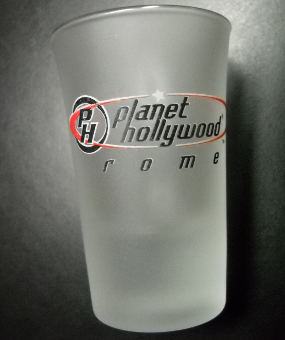 Planet Hollywood Rome Shot Glass Flared Style with Frosted Glass