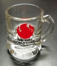 Knoxville 1982 World's Fair Shot Glass Miniature Mug Clear Glass Red Bla... - $7.99