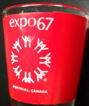 Expo 67 Shot Glass Montreal Canada 1967 Red Wrap White Print on Clear Do... - $7.99