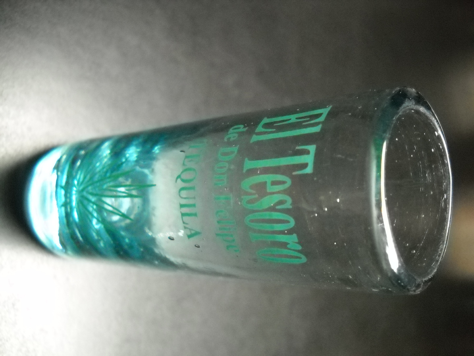 El Tesoro Tequila Shot Glass Tall Style Green Bubbled Glass with Blue Agave