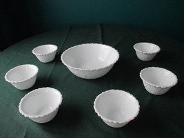 Milk Glass Serving Bowl 6 Berry Dessert Bowls I... - $59.99