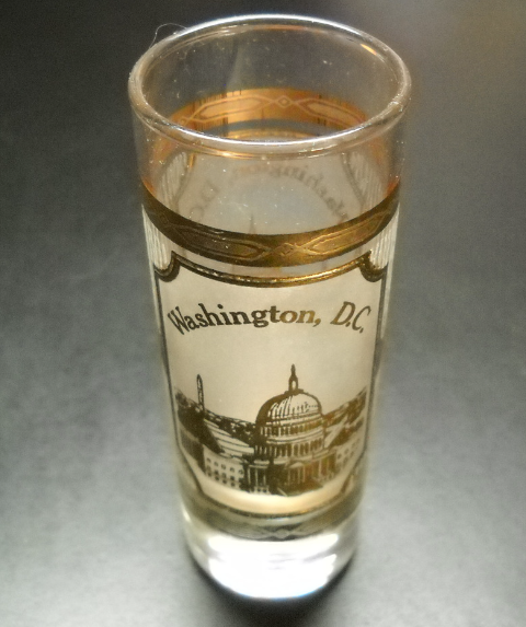 Primary image for Washington DC Tall Shot Glass Capitol in Gold on Frosted Glass Wrap Clear Glass