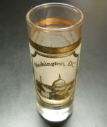 Washington DC Tall Shot Glass Capitol in Gold on Frosted Glass Wrap Clear Glass - $7.99