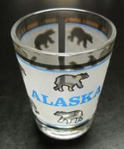 Alaska Shot Glass Frosted Wrap Around with Blue Accents and Whole Lot of... - $6.99