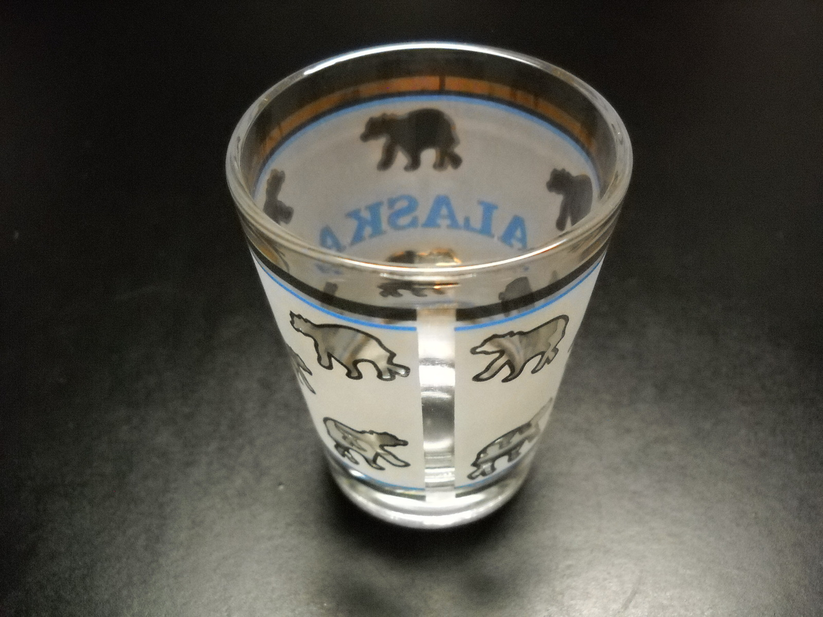 Alaska Shot Glass Frosted Wrap Around with Blue Accents and Whole Lot of Bears