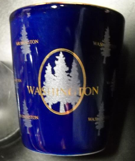 Washington State Shot Glass Colbalt Blue with Light Blue and Gold Accents