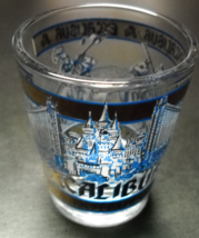 Excalibur Hotel Casino Shot Glass Blue and Gray Knights and Hotel Illust... - $6.99