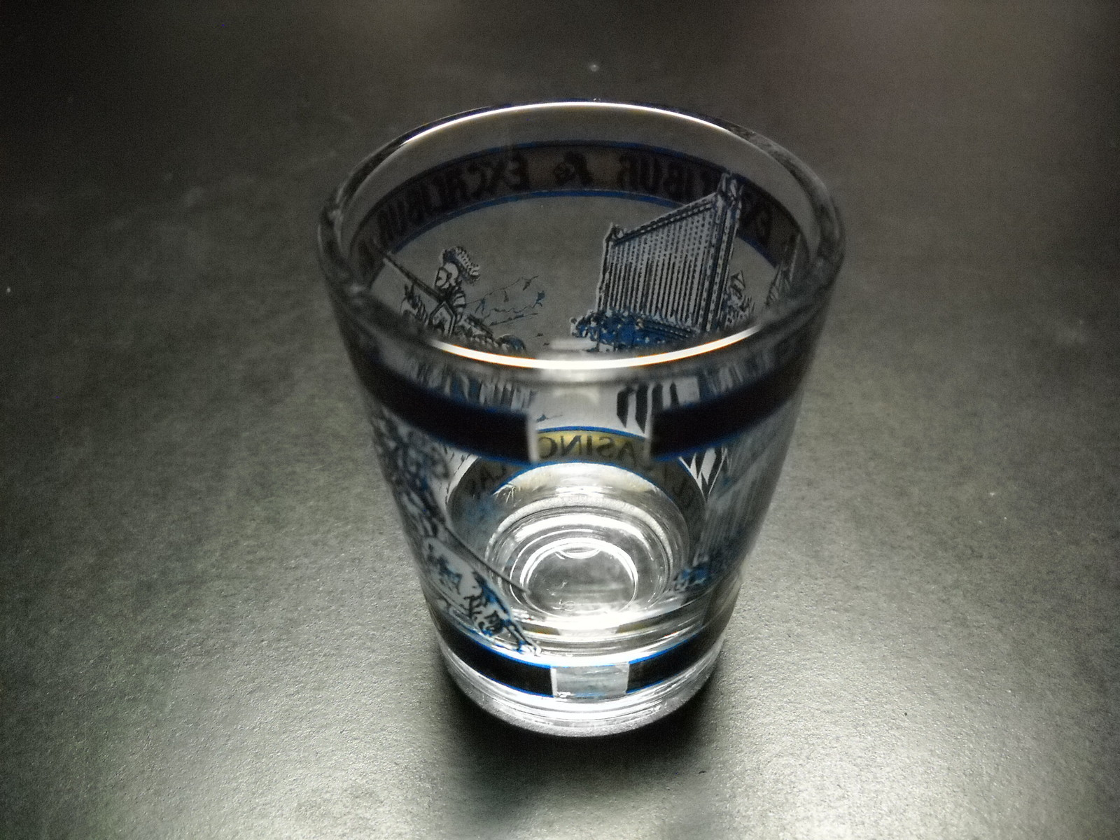 Excalibur Hotel Casino Shot Glass Blue and Gray Knights and Hotel Illustration
