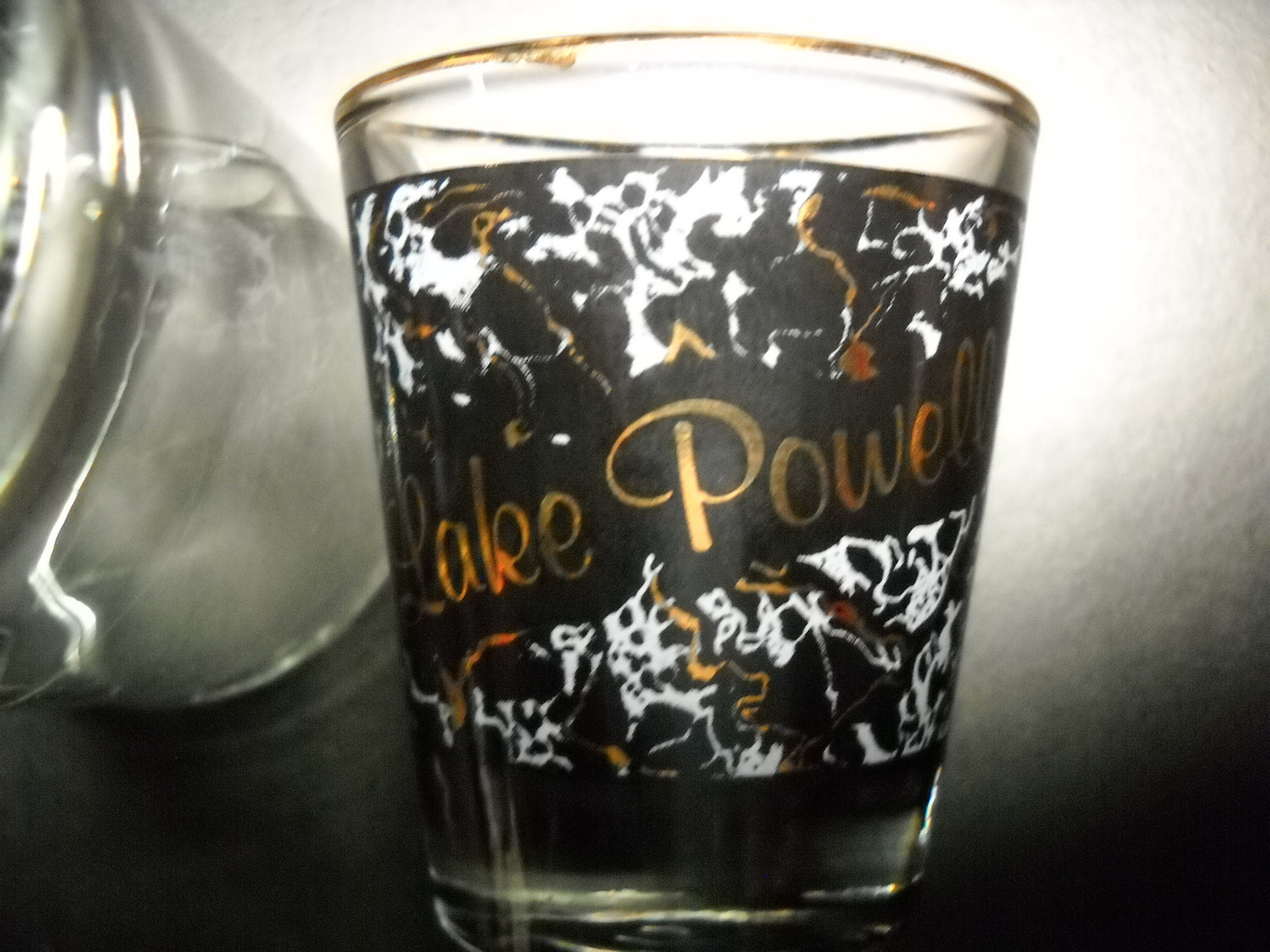 Lake Powell Shot Glass Marbled Black Light Blue Gold Wrap Lake Powell in Gold