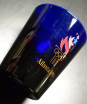 Atlanta 1996 Summer Olympics Shot Glass Cobalt Blue with Olympic Logo Libbey - $6.99