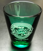 Tony Packo's Cafe Shot Glass Toledo Ohio Green Glass with White Print Li... - $6.99