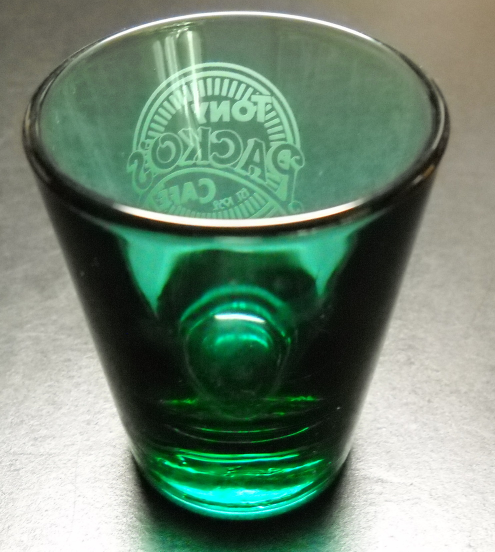 Tony Packo's Cafe Shot Glass Toledo Ohio Green Glass with White Print Libbey