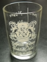 Holland House Cocktail Mix Jigger Shot Glass White Print Ilustration on Clear - $7.99