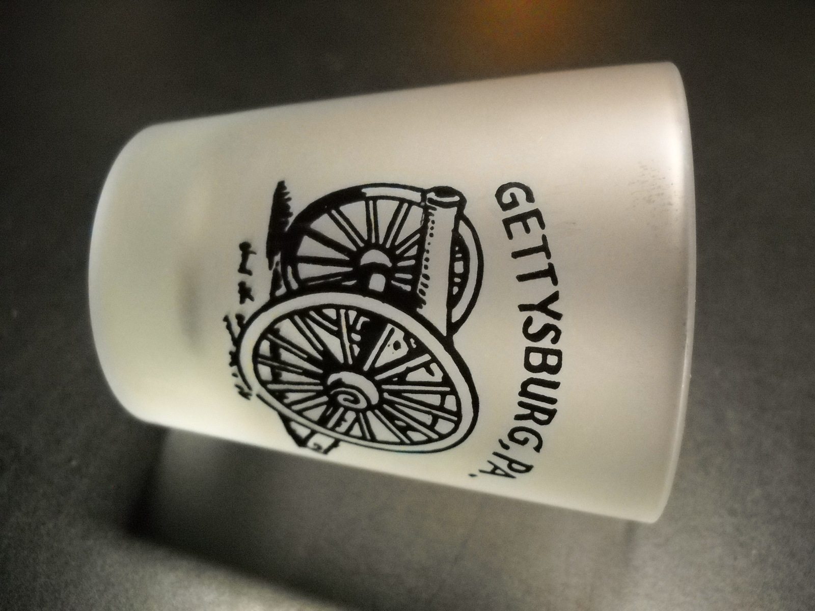Gettysburg Shot Glass Black Cannon Illustration on Frosted Glass Pennsylvania