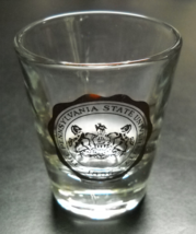 Pennsylvania State University Shot Glass Gold Coat of Arms on Clear Glas... - $6.99