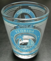 Florida Beach Club Shot Glass Blue Frosted Print and Illustration on Cle... - $6.99