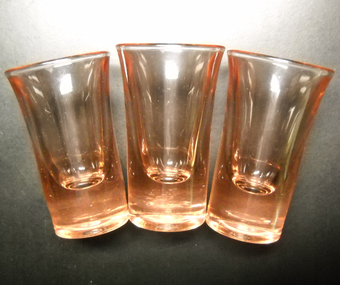 Flared Shot Glass Lot of Three Golden Amber Brown Color Flaired Style Heavy Base - $11.99