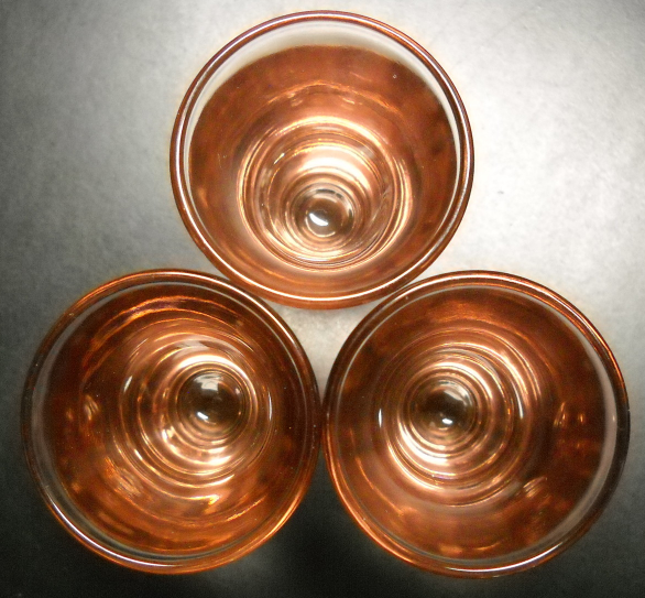 Flared Shot Glass Lot of Three Golden Amber Brown Color Flaired Style Heavy Base
