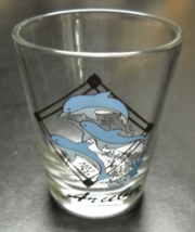 Aruba Shot Glass Dolphins Three Dolphins in Blues White Jumping on Clear... - $6.99