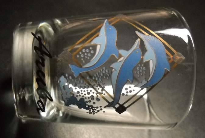 Aruba Shot Glass Dolphins Three Dolphins in Blues White Jumping on Clear Glass