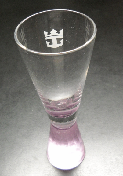 Royal Caribbean Shot Glass Tall Soft Pink Chiseled Pedestal Glass with Anchor