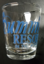 Summit Resort Shot Glass In The Poconos Blue Print and Logo on Clear Glass - $6.99