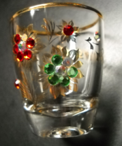 Birkenstein Germany Shot Glass Bedazzled Flowers Gold Foliage and Rim on... - $6.99