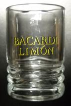 Ron Bacardi Limon Shot Glass Black Lemon Yellow Print Clear Glass Oval S... - €6,00 EUR