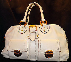 Marc Jacobs Made in Italy Venetia Satchel Ivory Leather Shoulder Bag Han... - $349.00