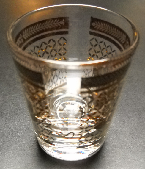 Starlyte Shot Glass Gold Flower Blooms Filigrees and Borders on Clear Glass