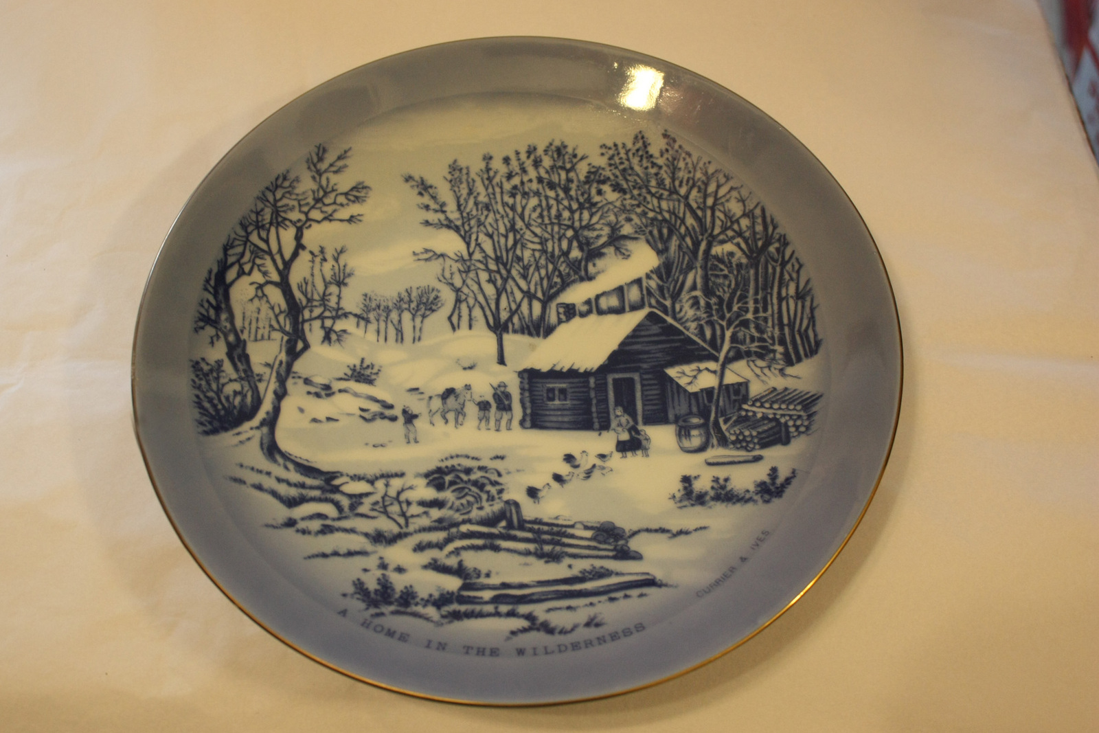 "Currier & Ives Collectibe Blue & White Plate - ""Home in the Wilderness"""
