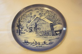 Currier & Ives Blue & White Collector Plate - The Old Homestead in Winter - $9.99