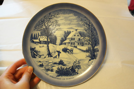 Currier & Ives Blue and White Collector Plate - The Homestead in Winte - $9.99