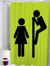 BOY Peeping Girl Cute Design POLYESTER 180x200cm Bathroom Use SHOWER CUR... - $19.99