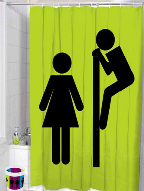 BOY & GIRL Cute Design POLYESTER 180 x 200 cm Bathroom Use SHOWER CURTAIN Set
