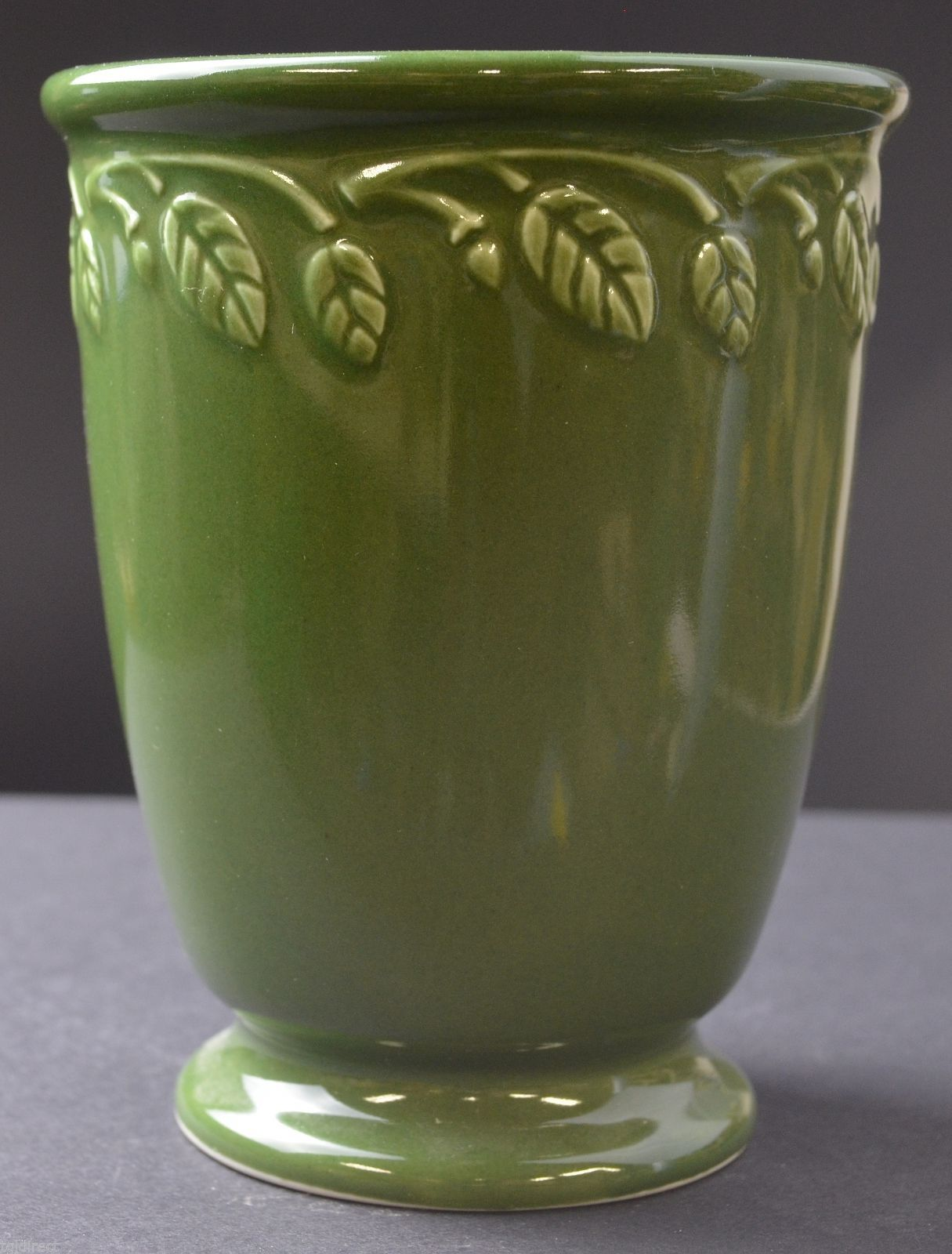 "Primary image for Longaberger Pottery Vase Garden Set Pattern 5.125"" Tall Collectible Green Flower"