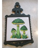 Vintage Mushroom Retro Kitchen Trivet Green Cast Iron 1960's. May be use... - $12.99