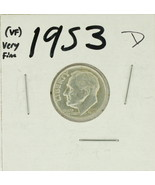1953-D United States Roosevelt Dime 90% Silver Rating :(VF)  Very Fine - £0.87 GBP