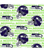 SEATTLE SEAHAWKS WHITE FLEECE FABRIC SOLD BY THE YARD-LIMITED EDITION-SEATTLE... - $12.06