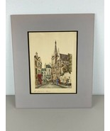 Vintage Original Watercolor Ink Saint Severin Signed  - $148.49