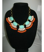 J Crew Faux Turquoise Coral Statement Necklace w/ Beaded Fringe Antique ... - $24.74