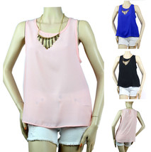 Evening Chiffon Blouse Necklace Key Hole Summer Sexy Tank Top Casual Clu... - $19.99
