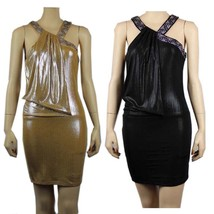 Metallic Rhinestone Neck Pleated Summer Evening Cocktail Party Mini Club... - $39.99