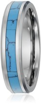 6mm Unisex Tungsten Wedding Ring Band; Silver Blue Turquoise Inlay. Size... - $39.95